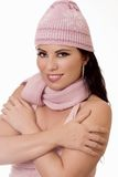 Woman in woollen hat Stock Photo