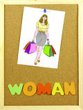 Woman word on a corkboard Royalty Free Stock Photography