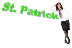 Woman with word St. Patrick Stock Photos