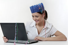 Woman at work at christmas time Stock Photo
