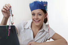 Woman at work at christmas time Royalty Free Stock Photography