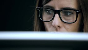 Woman work at computer stock footage