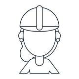 Woman work construction helmet thin line Royalty Free Stock Photo