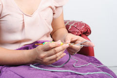 Woman work with crochet Stock Image