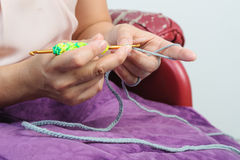 Woman work with crochet Royalty Free Stock Images