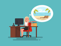 Woman at work daydreaming about summer vacation at sea. Vector i. Llustration of a flat design Royalty Free Stock Photo