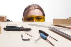 Woman and work desk. Stock Photography