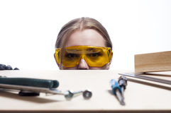 Woman and work desk. Stock Photo