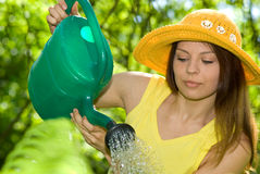 Woman work in her garden Royalty Free Stock Images