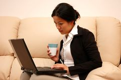 Woman at work from home Royalty Free Stock Images