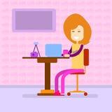 Woman Work Laptop Computer, Sitting Desk Stock Photography