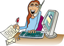 Woman at work in office. Cartoon illustration of happy woman at work in office Royalty Free Stock Image
