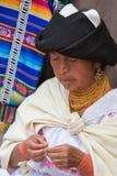 Woman at work at the Otavalo Market, Ecuador Stock Photo