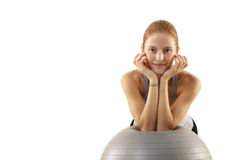 Woman work out on fitness ball Stock Photos