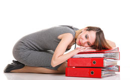 Woman work Overworked businesswoman plenty of documents isolated Stock Images