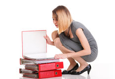 Woman work Overworked businesswoman plenty of documents isolated Royalty Free Stock Photo