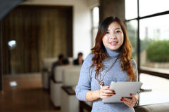 Woman work with pad Royalty Free Stock Image