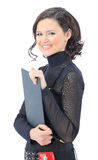 Woman with the work plan smiling. Royalty Free Stock Photo