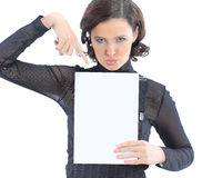 Woman with the work plan smiling. Stock Photos
