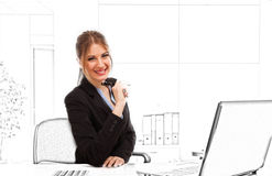 Woman at work in a sketched office Stock Photography