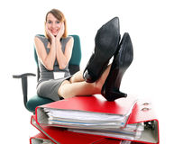 Woman work stoppage businesswoman relaxing legs up plenty of doc Stock Photography