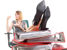 Woman work stoppage businesswoman relaxing legs up plenty of doc Stock Images