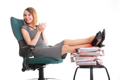 Woman work stoppage businesswoman relaxing legs up plenty of doc Stock Photo