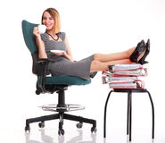 Woman work stoppage businesswoman relaxing legs up plenty of doc Stock Image