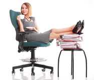 Woman work stoppage businesswoman relaxing legs up plenty of doc Royalty Free Stock Images