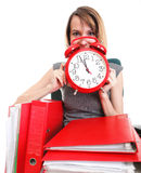 Woman work stoppage Overworked businesswoman plenty of documents Royalty Free Stock Photos