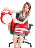 Woman work stoppage Overworked businesswoman plenty of documents Royalty Free Stock Photo