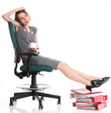 Woman work stoppage Overworked businesswoman plenty of documents Royalty Free Stock Image