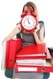 Woman work stoppage Overworked businesswoman plenty of documents Stock Photos