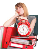 Woman work stoppage Overworked businesswoman plenty of documents Stock Photography