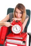 Woman work stoppage Overworked businesswoman plenty of documents Stock Image