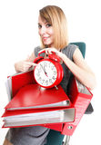 Woman work stoppage Overworked businesswoman plenty of documents Stock Photo