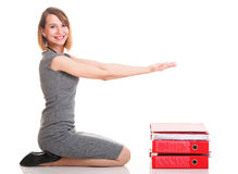Woman work successful businesswoman plenty of documents  Royalty Free Stock Images