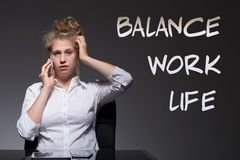 Woman is a workaholic Stock Image