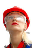 Woman worker. With red helmet Stock Photos