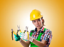 Woman worker against the gradient Royalty Free Stock Photo