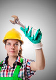Woman worker against the gradient Stock Photography