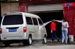 Pengzhou, China: Woman Washing Car Royalty Free Stock Images