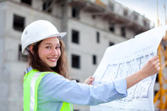 Woman worker on a construction site Royalty Free Stock Photo