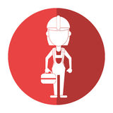Woman worker construction toolbox shadow Royalty Free Stock Photo