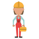 Woman worker construction toolbox Stock Images