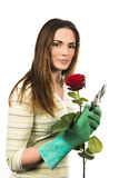 Woman worker with flowers. Stock Image