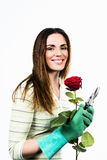 Woman worker with flowers. Royalty Free Stock Images
