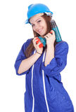 Woman worker keeping drill Stock Images