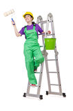 Woman worker on ladder Stock Photography