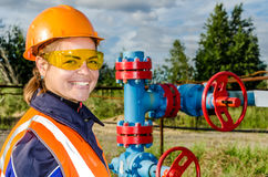 Woman worker in the oilfield stock photography